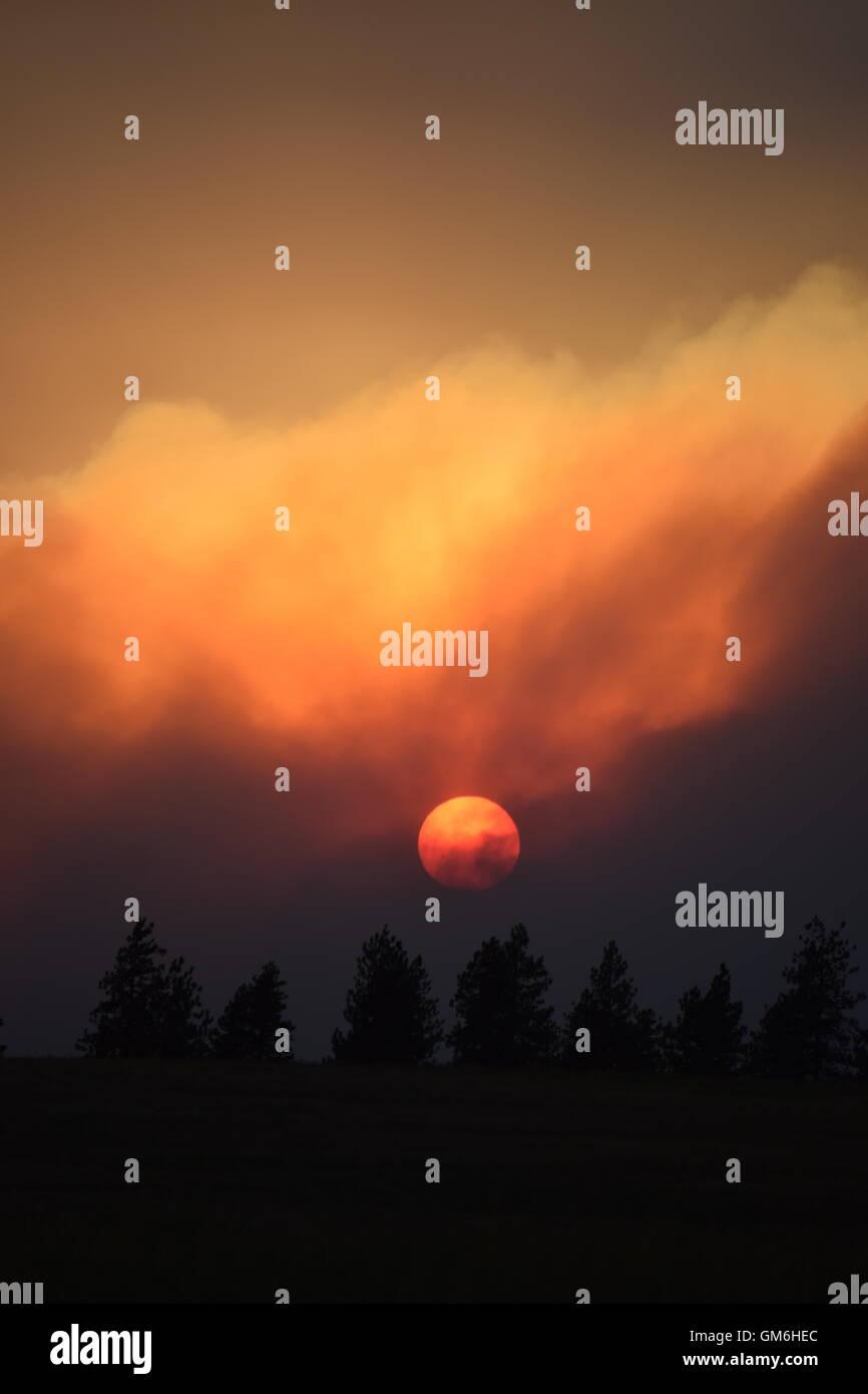 Setting sun through wildfire smoke. - Stock Image