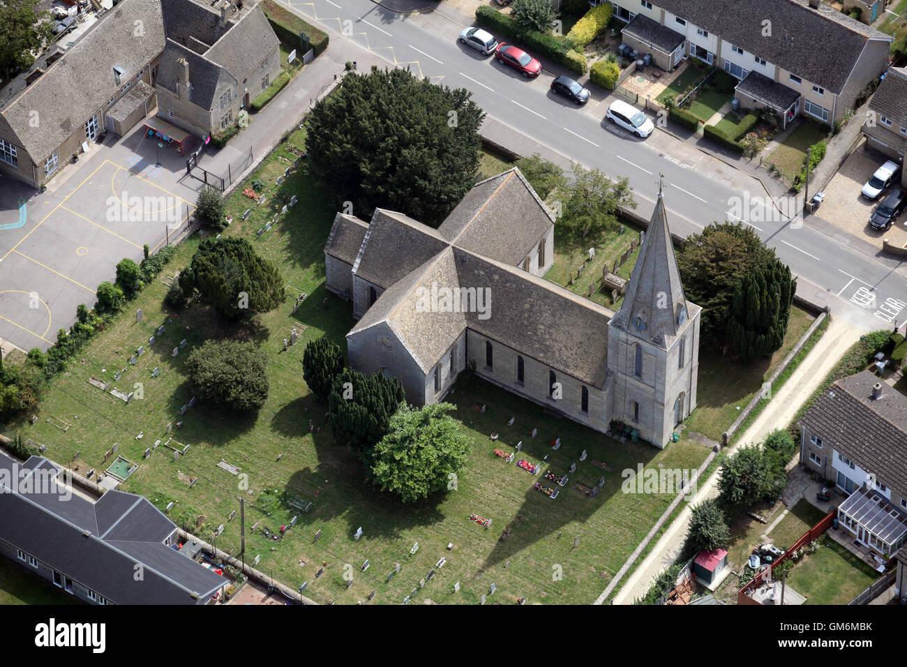 aerial view of St James Church at Aston near Bampton, Oxfordshire, UK - Stock Image