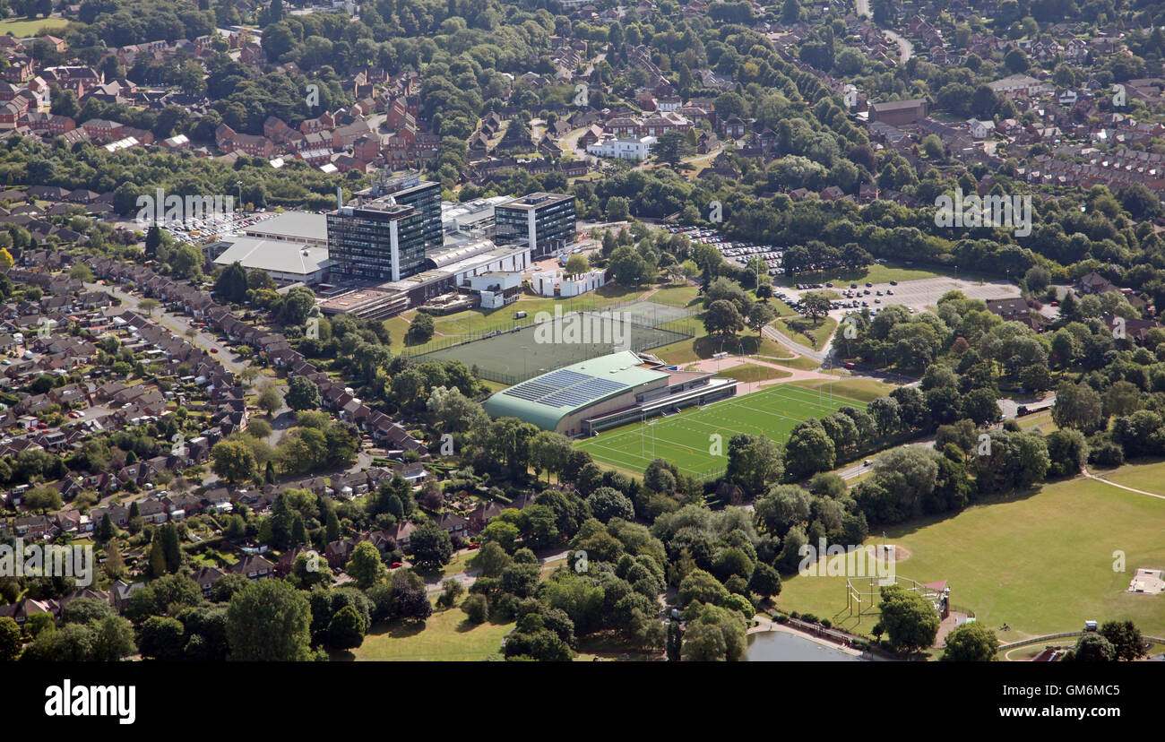 aerial view of Derby University, Derbyshire, UK - Stock Image