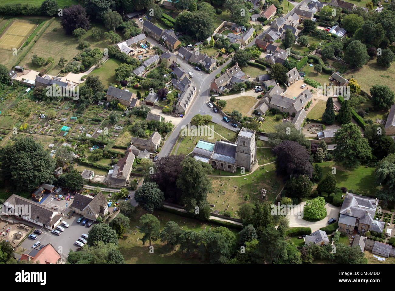 aerial view of the Oxfordshire village of Steeple Aston, UK - Stock Image