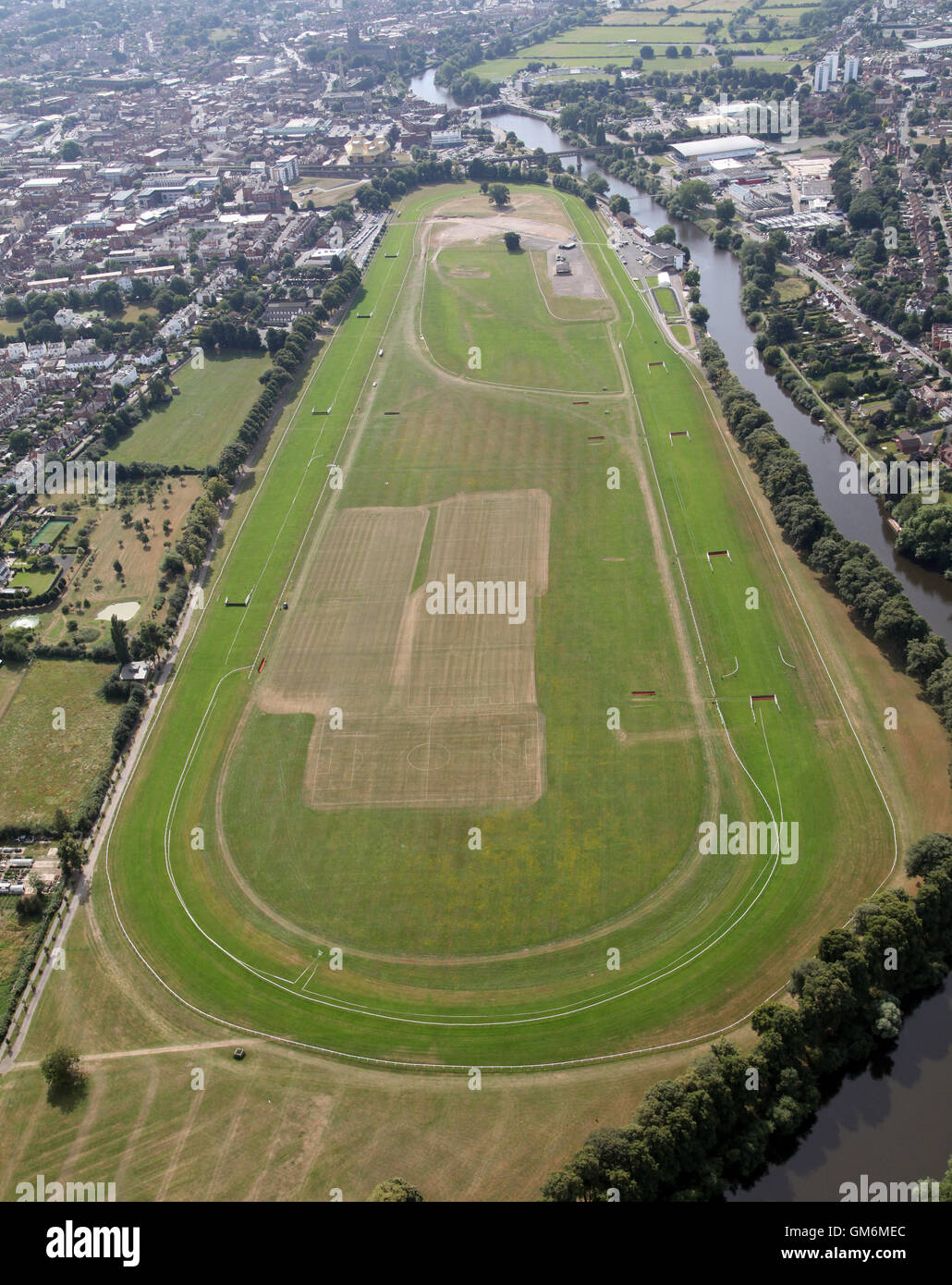 aerial view of Worcester Racecourse horse racing circuit, UK - Stock Image
