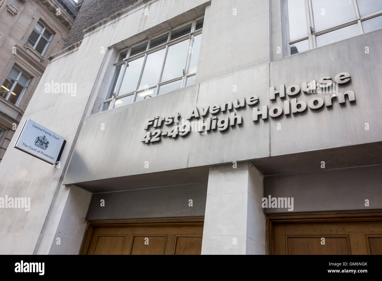 Sign outside Central Family Court and The Court of Protection, First Avenue House, High Holborn, London, UK - Stock Image