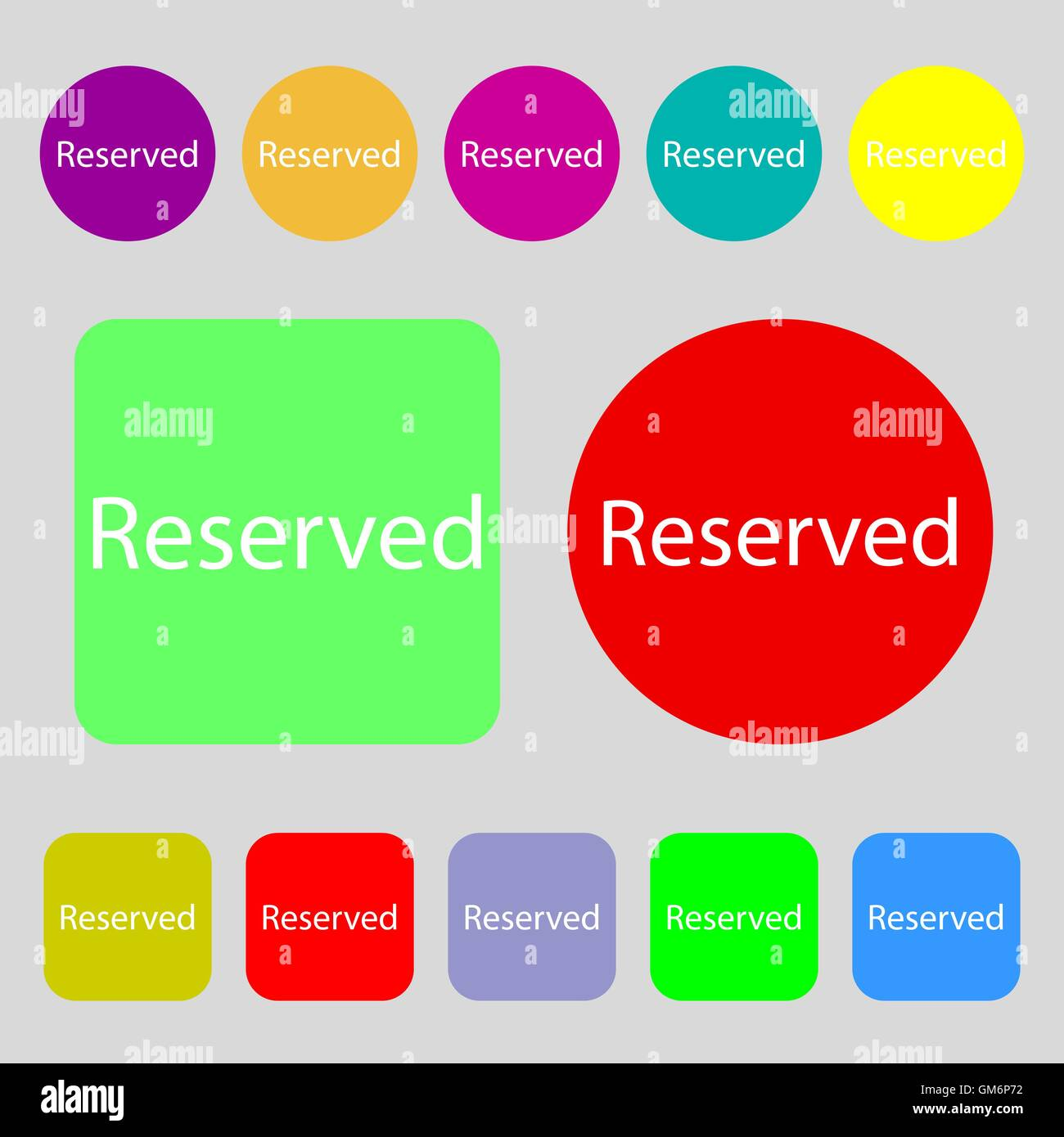 Reserved sign icon. 12 colored buttons. Flat design. Vector - Stock Image