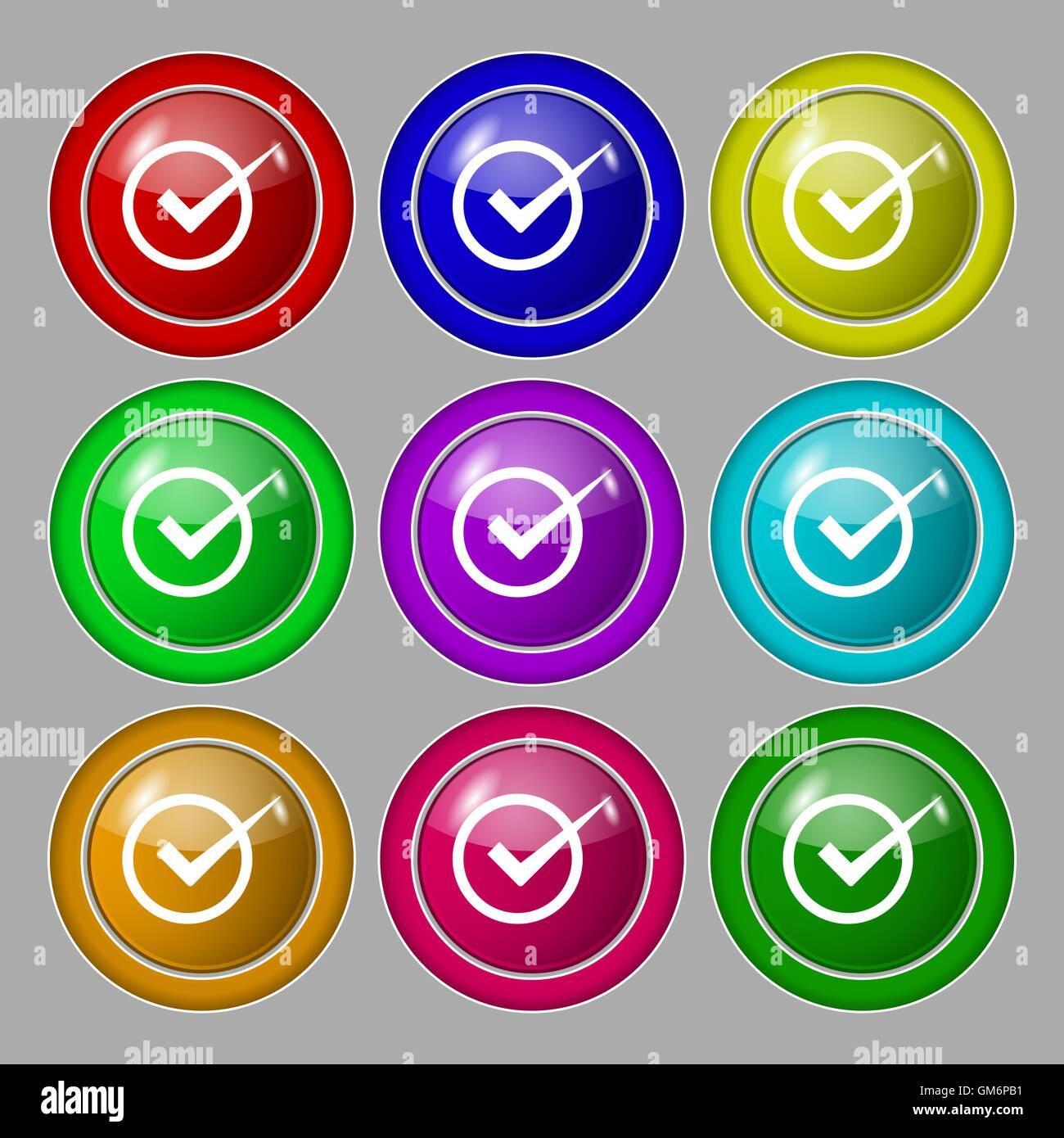 Check mark sign icon  Checkbox button  Symbol on nine round