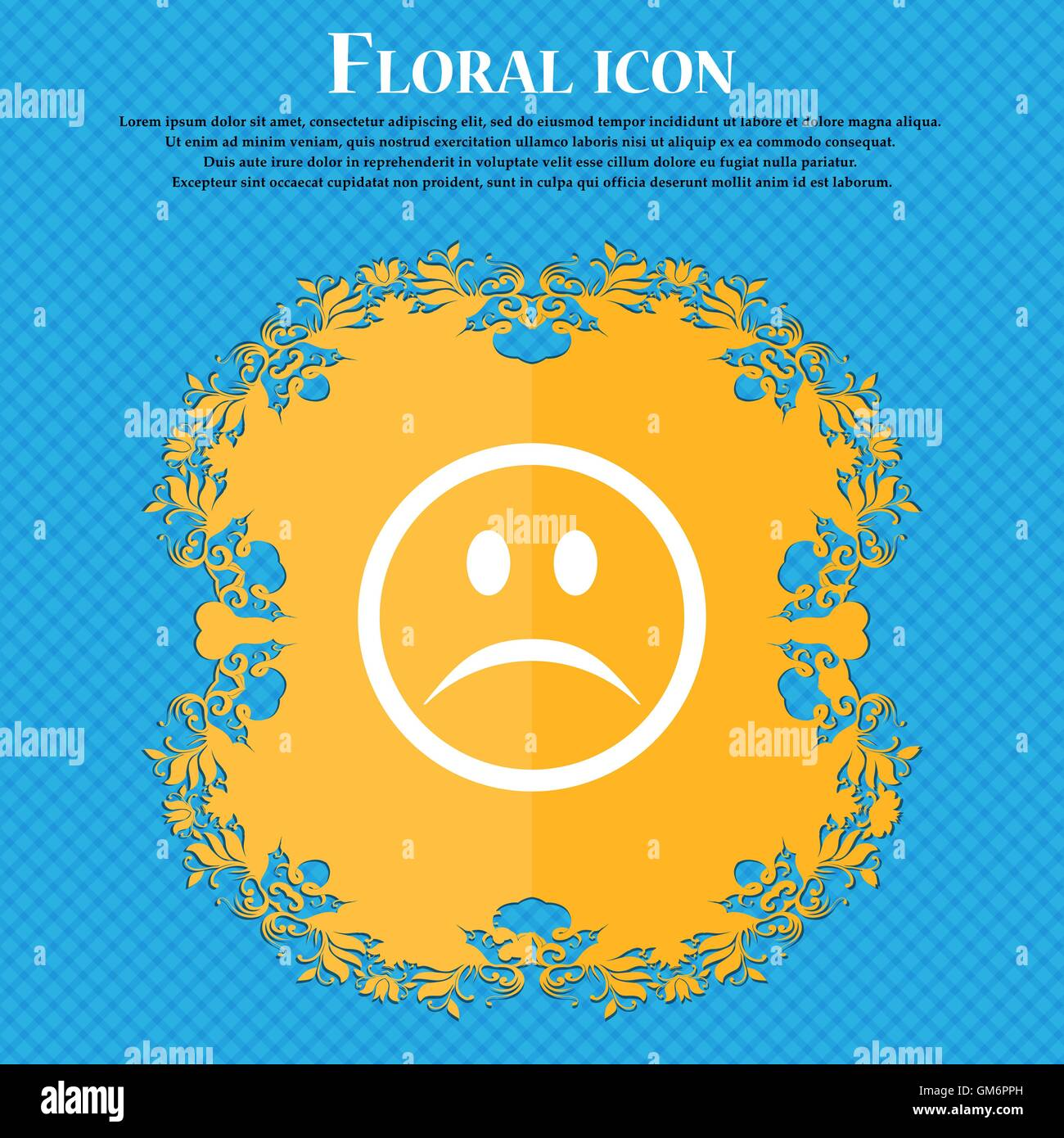 Sad face, Sadness depression . Floral flat design on a blue abstract background with place for your text. Vector - Stock Vector