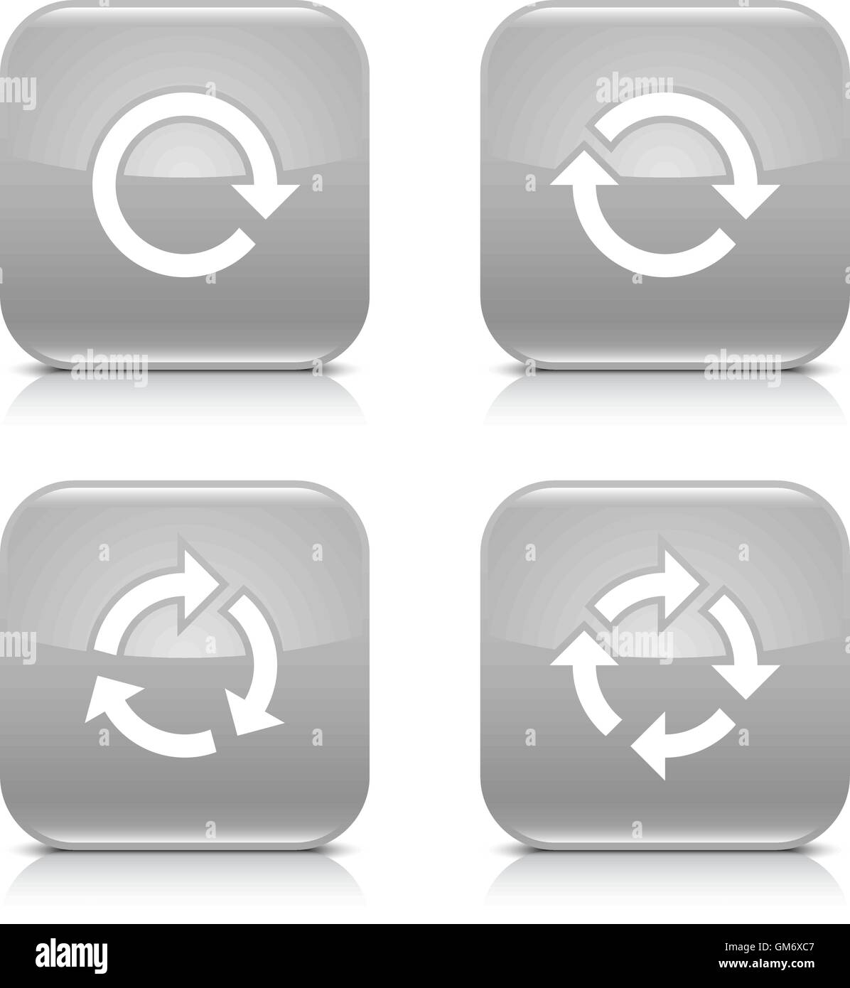 4 arrow icon. White repeat, reload, rotation, refresh sign. Set 02. Gray rounded square button with gray reflection - Stock Image