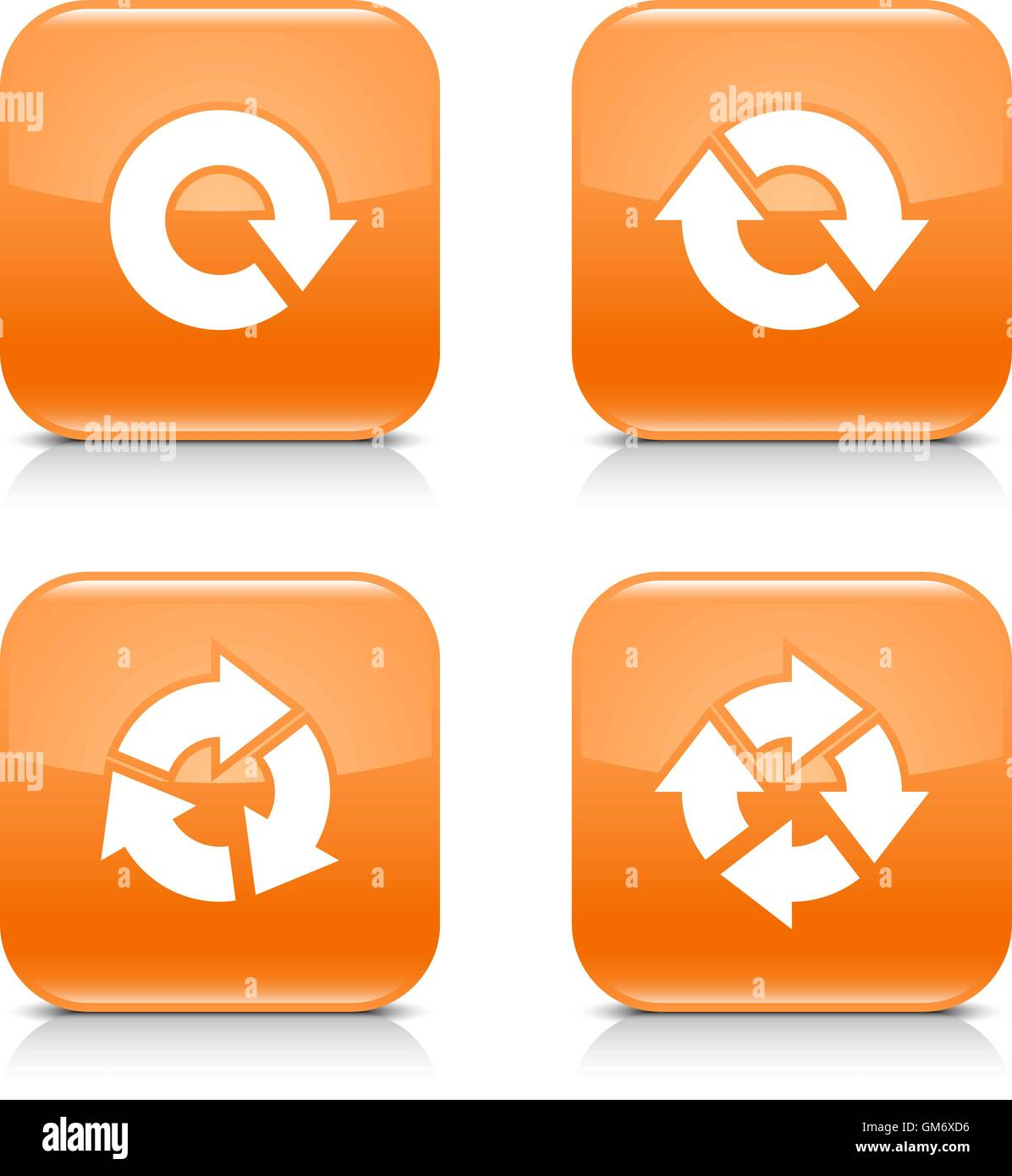 4 arrow icon. White refresh, reload, rotation, repeat sign. Set 04. Orange rounded square button with gray reflection - Stock Image