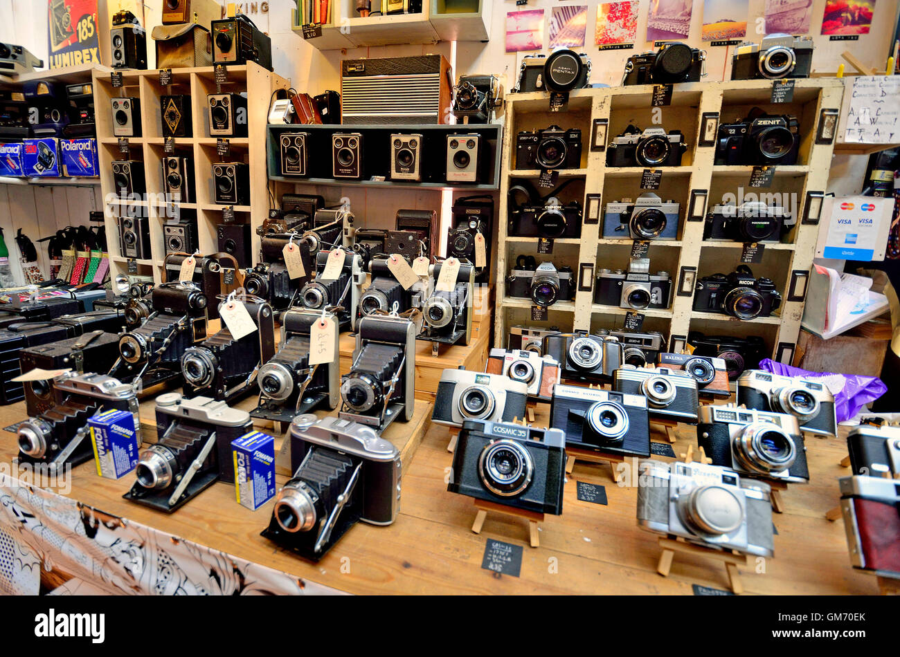 London England, UK. Camden Market - stall with vintage cameras - Stock Image