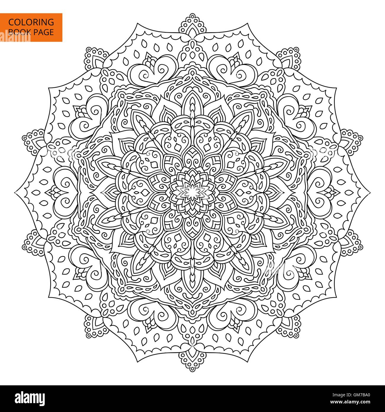 Coloring Book Page with Mandala Outline - Stock Image