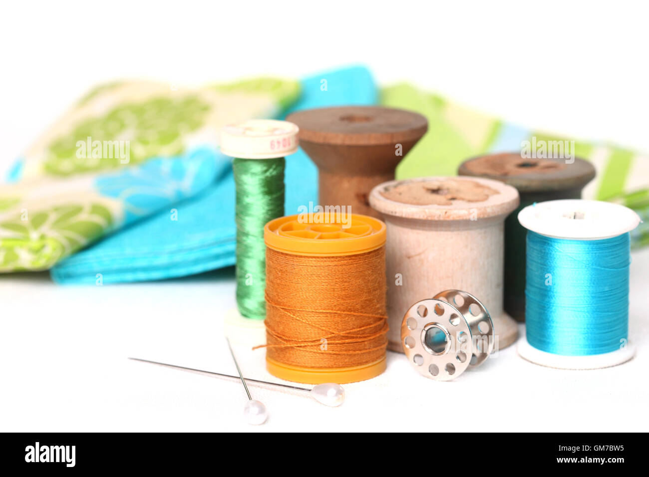 Sewing and Quilting Thread On White - Stock Image