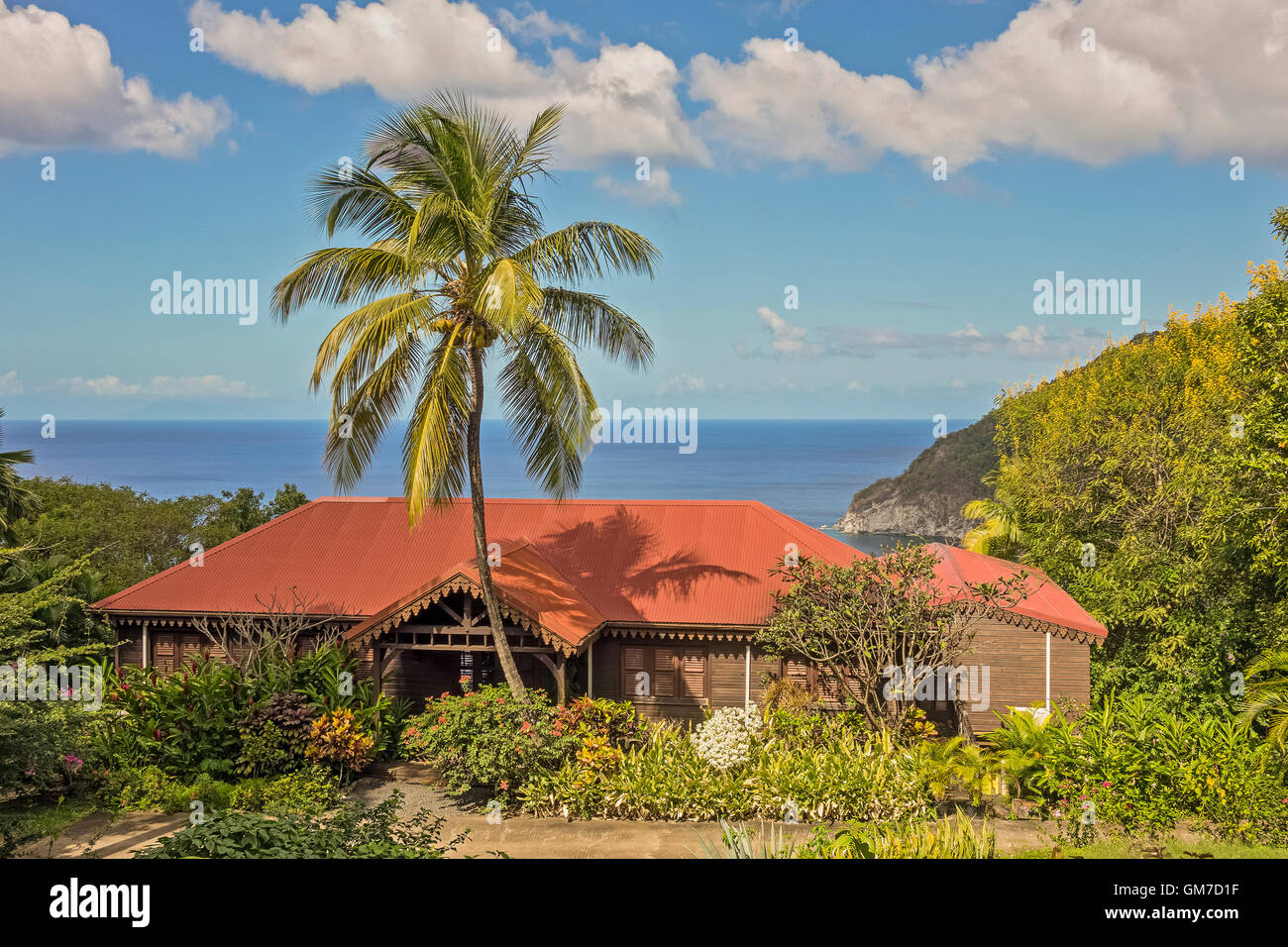 Plantation House Guadeloupe West Indies - Stock Image