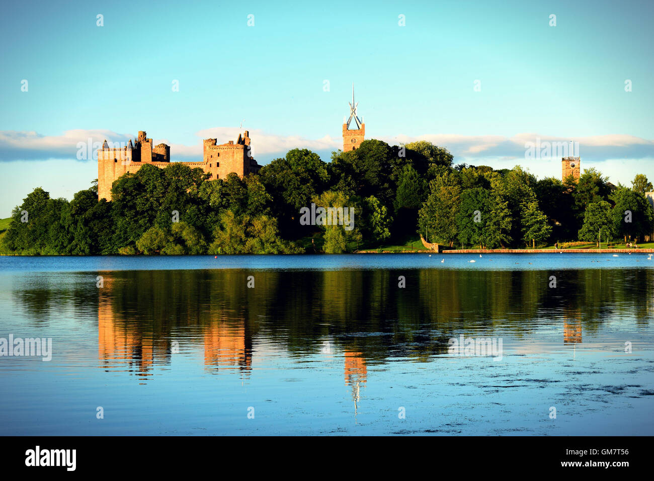Linlithgow Palace at dusk facing the loch Stock Photo