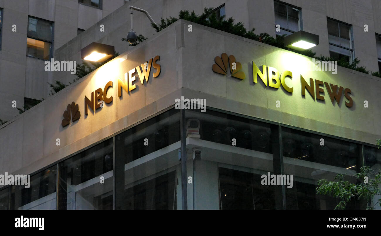 New York, USA. 23rd August, 2016. The world headquarters for NBC News, the Saturday Night Live studios and the Rainbow - Stock Image