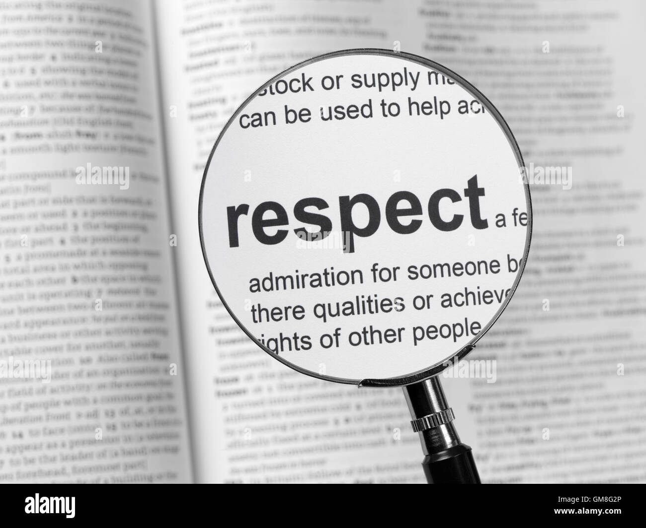 Dictionary highlighting Respect - Stock Image