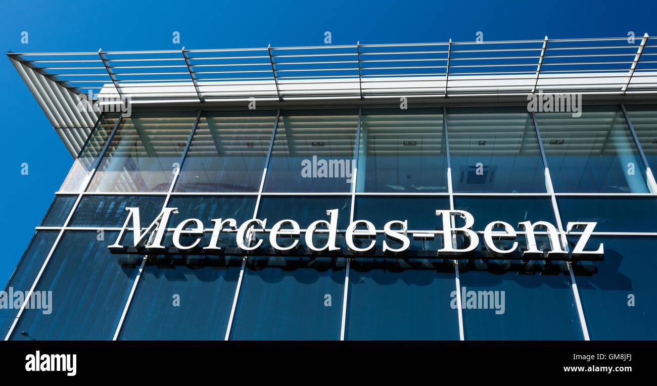 Exterior of the Mercedes Benz showroom in Brentford, west London, UK Stock Photo