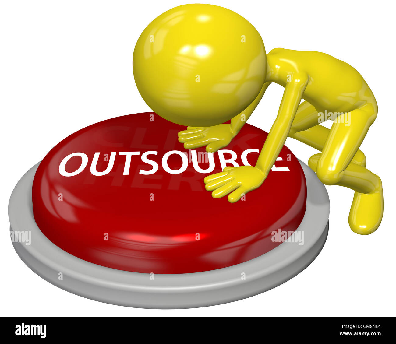 Business person cartoon push OUTSOURCE button concept - Stock Image