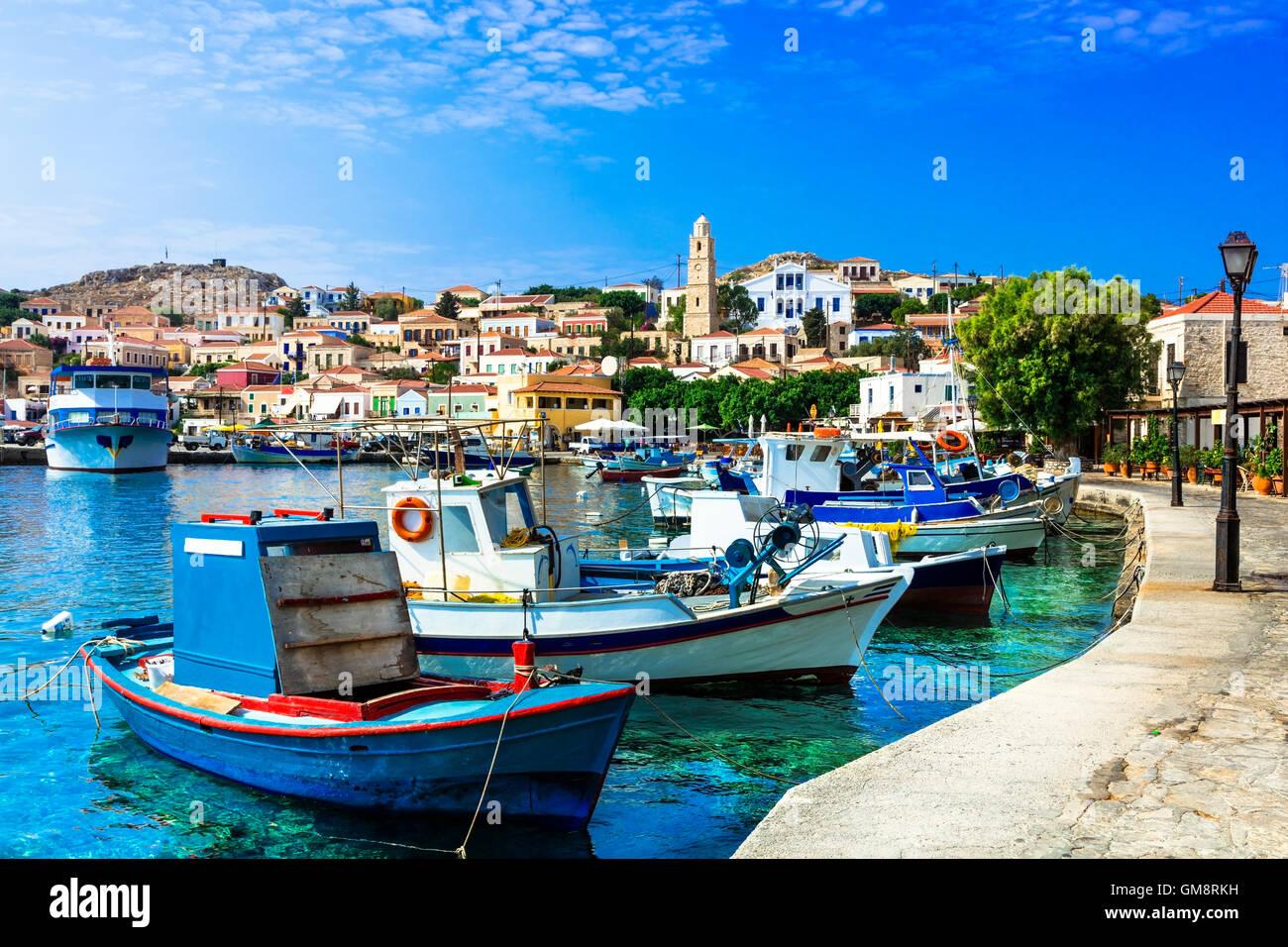 traditional Greece- Chalki island with ishing boats, Dodecanese - Stock Image