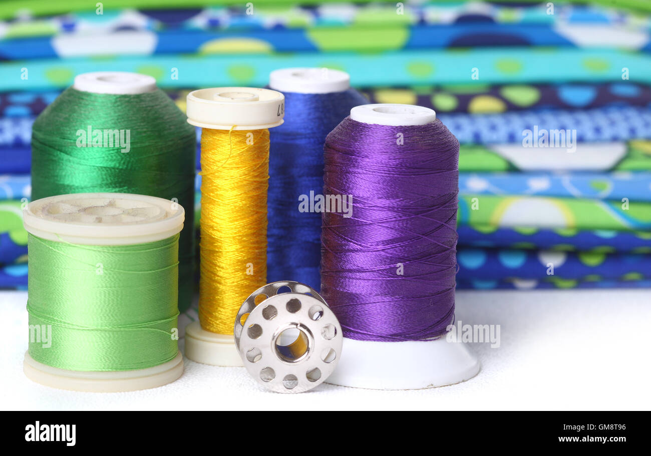 Quilting Thread With Fabric and Copy Space - Stock Image