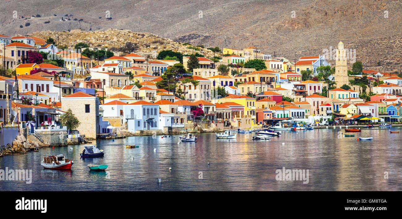 beautiful authentic island Chalki, Dodecanese, Greece - Stock Image