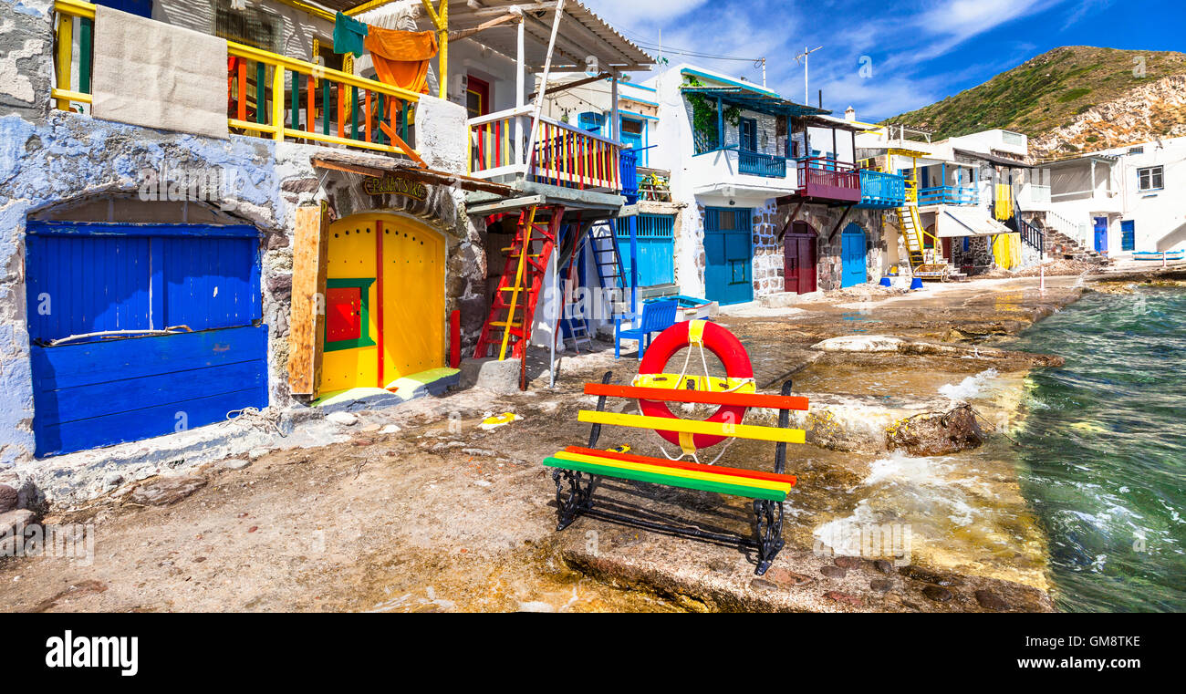 traditional authentic fishing village Klima. Milos island , Greece - Stock Image