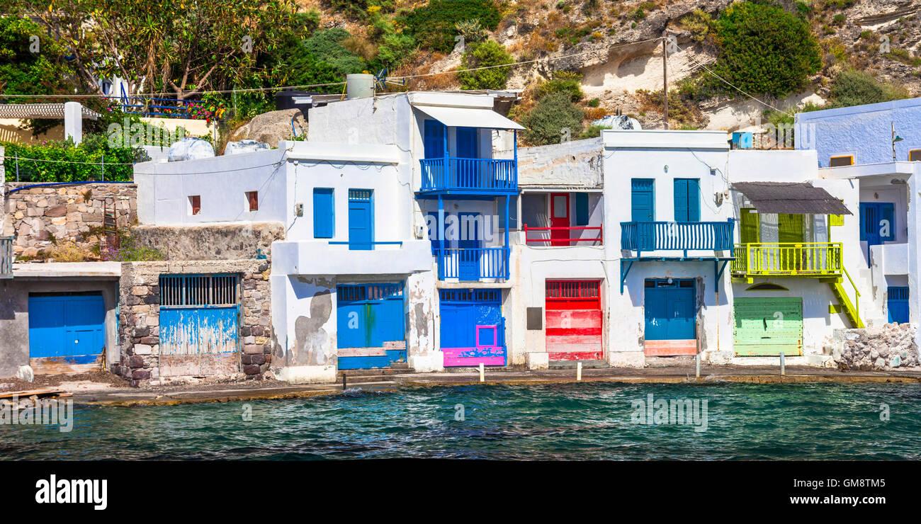 traditional fishing village Klima. Milos island , Greece - Stock Image
