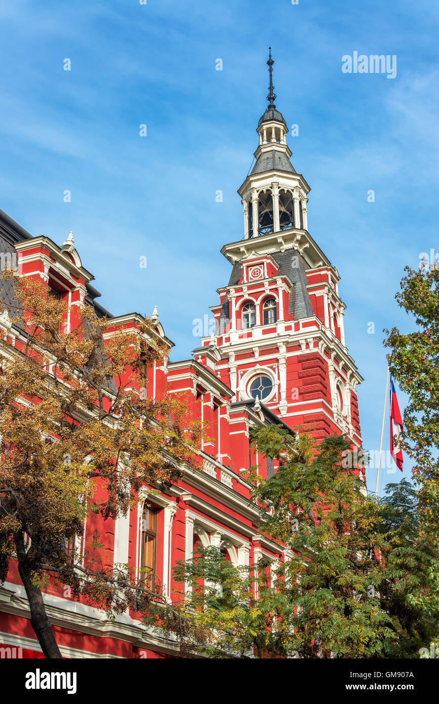 Historic red fire station in Santiago, Chile - Stock Image