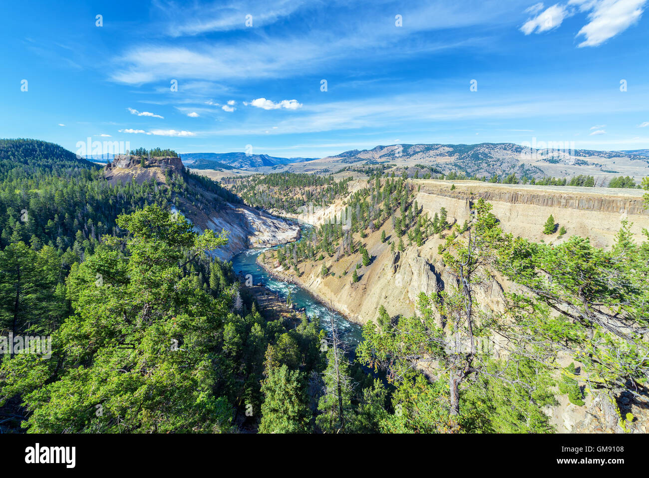 Landscape view of a canyon and the Yellowstone River near Tower Fall in Yellowstone National Park - Stock Image