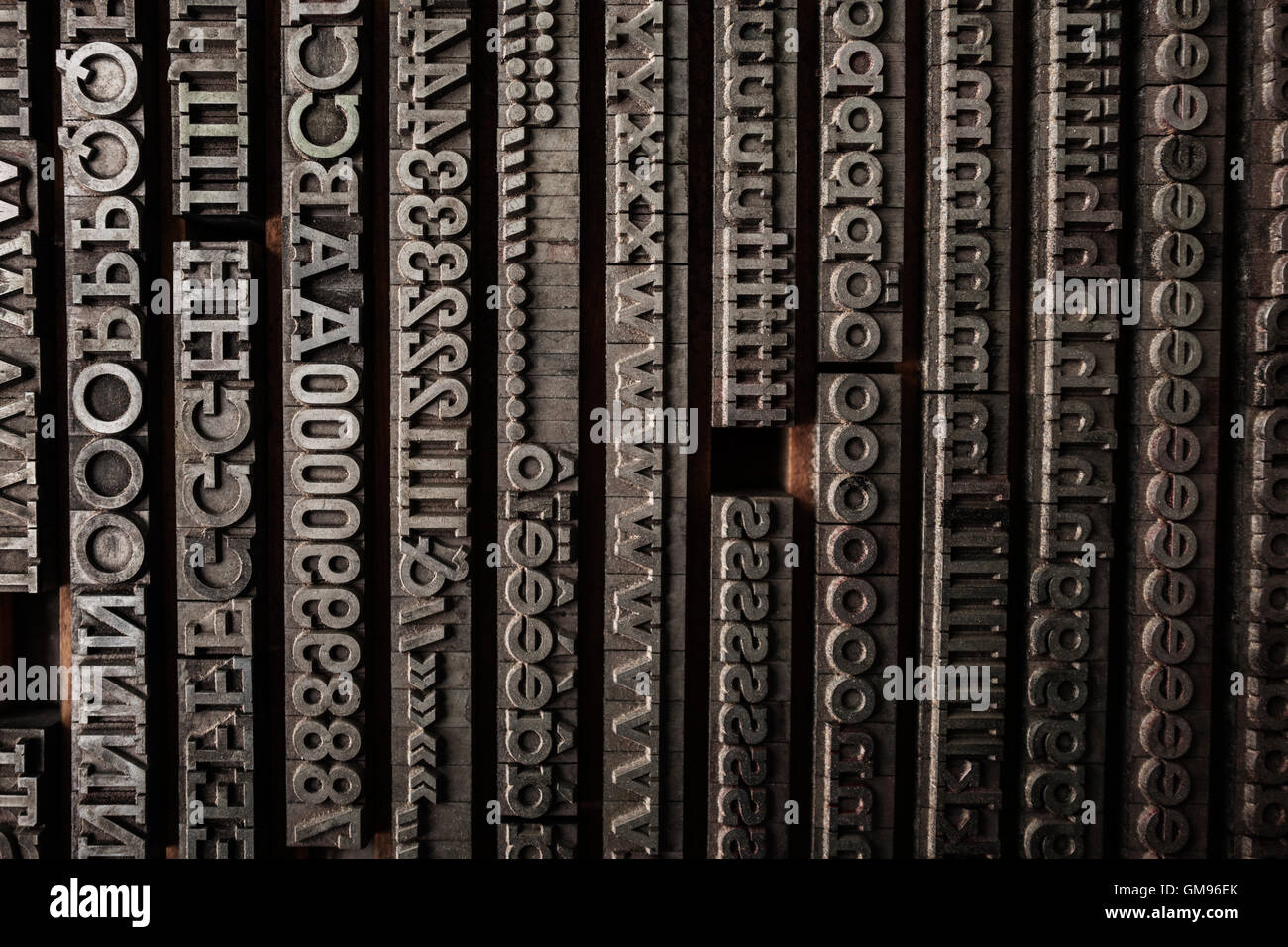 Lettrs in typesetting shop - Stock Image
