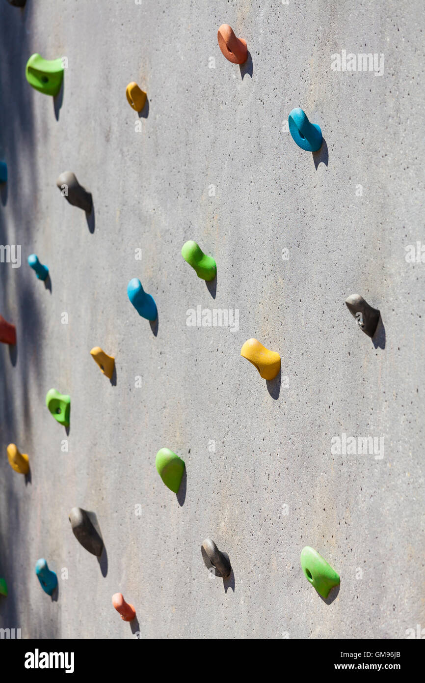 Hand grips, climbing wall - Stock Image