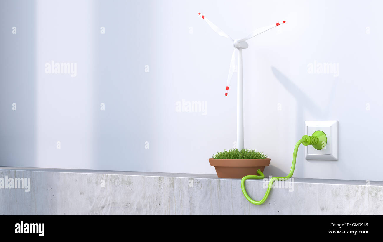 3D Rendering, Wind wheel producing electricity - Stock Image