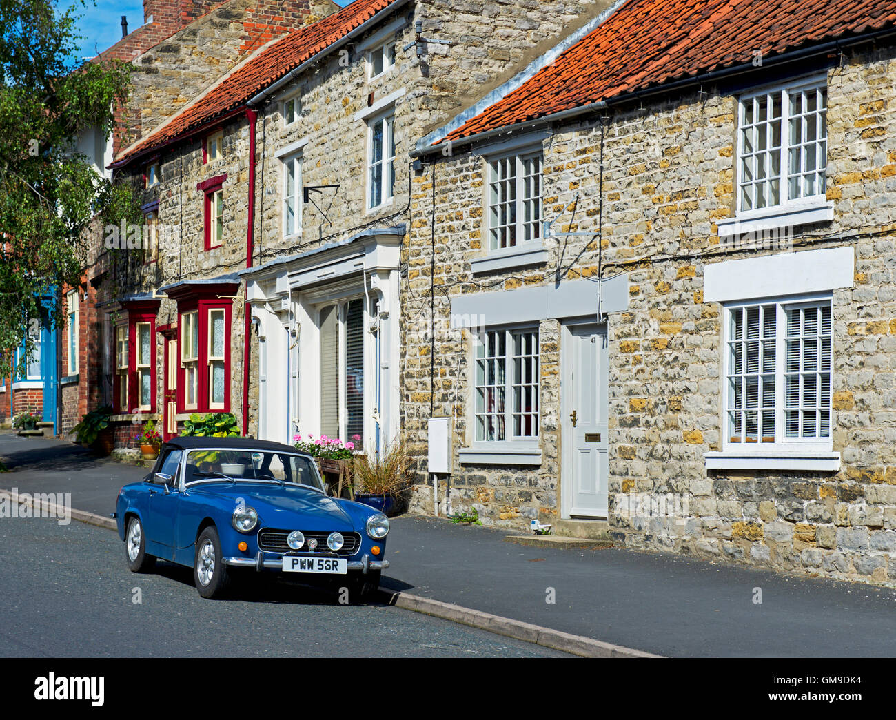 MG sports car parked in Kirkbymoorside, North Yorkshire, England UK - Stock Image