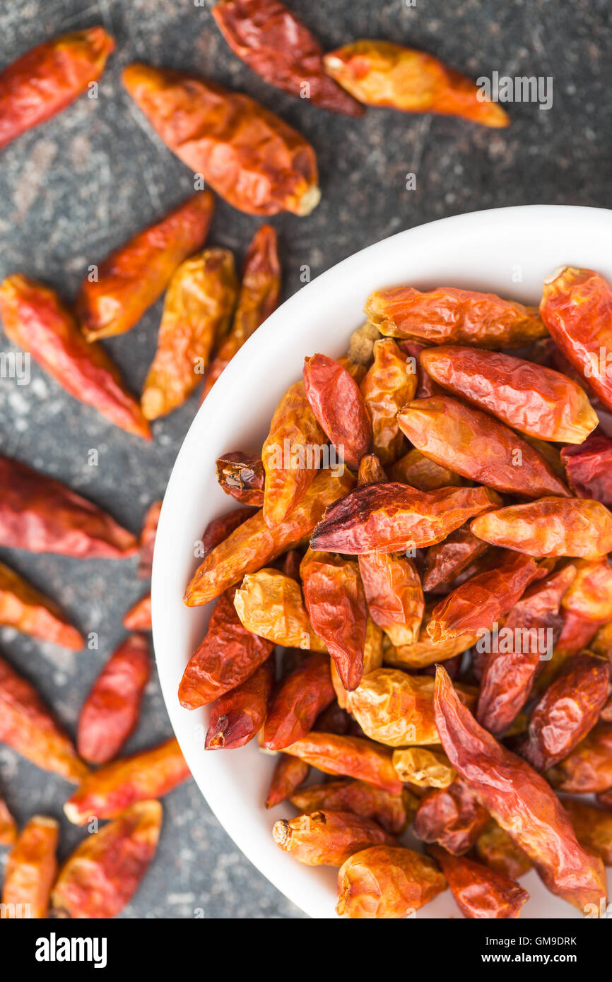 Dried mini chili peppers in bowl on kitchen table. Top view. - Stock Image