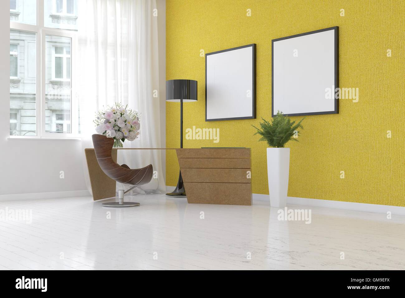 3D render scene of simple home office with yellow wall, plant, floor ...