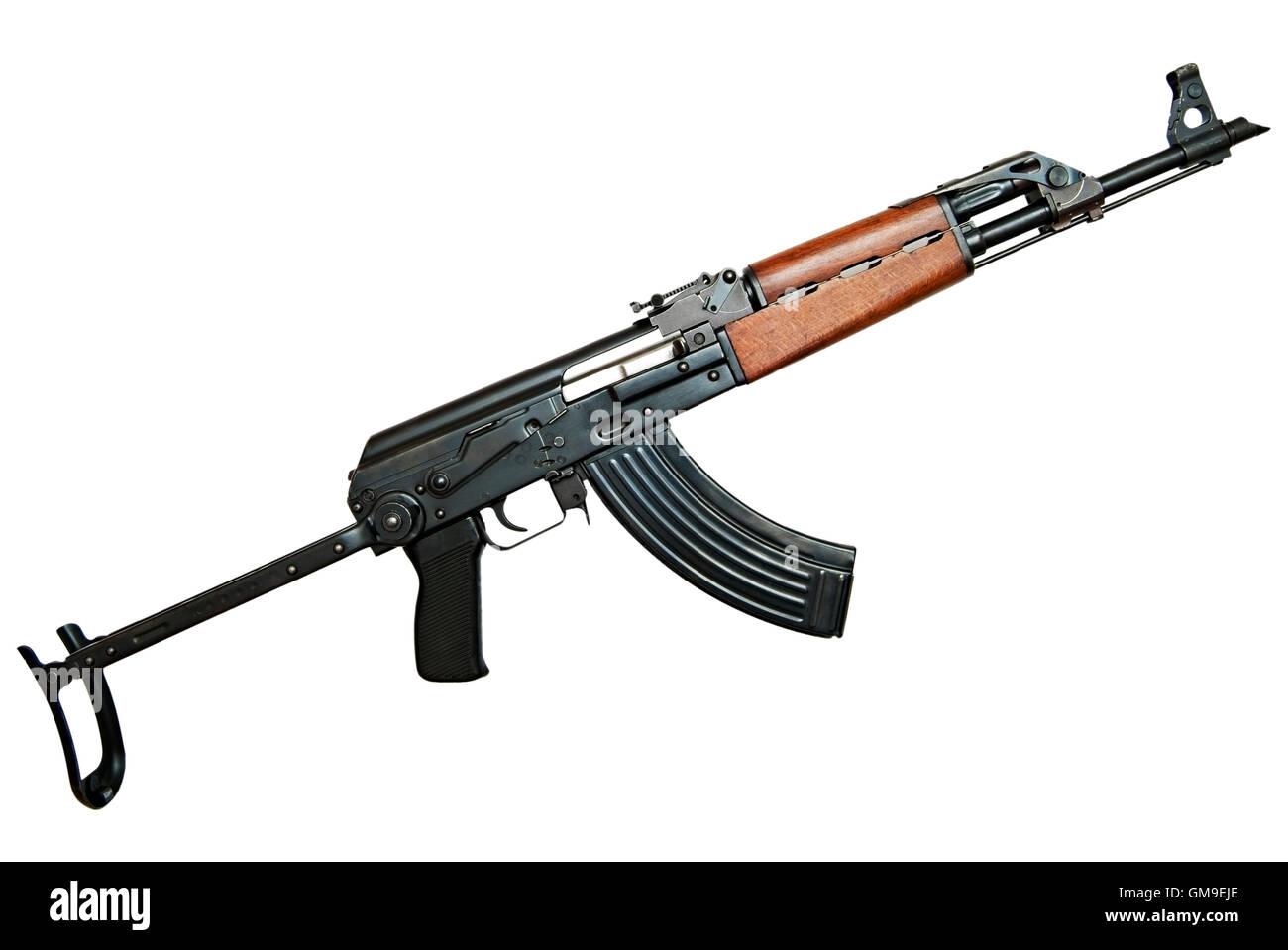 AK47 AKMS Kalashnikov Assault Rifle Against a White Background.