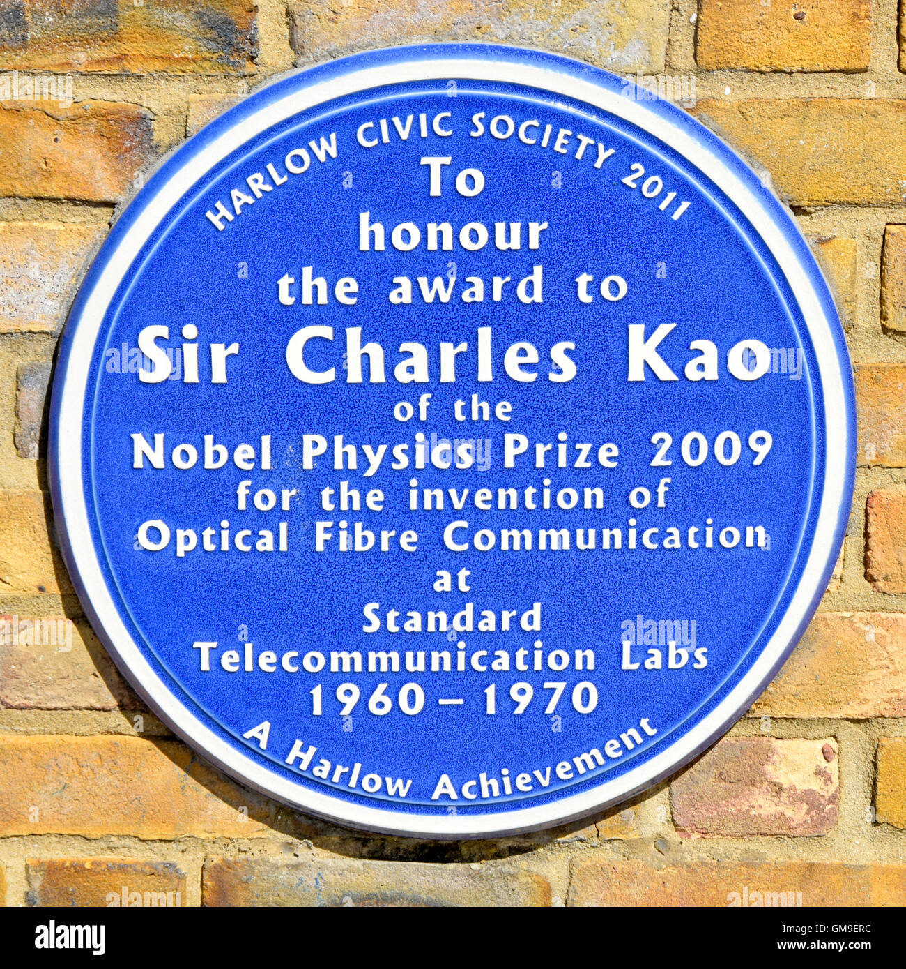Blue Plaque Harlow Essex England UK Civic Centre to honour the award of the Nobel Physics Prize 2009 to Sir Charles - Stock Image