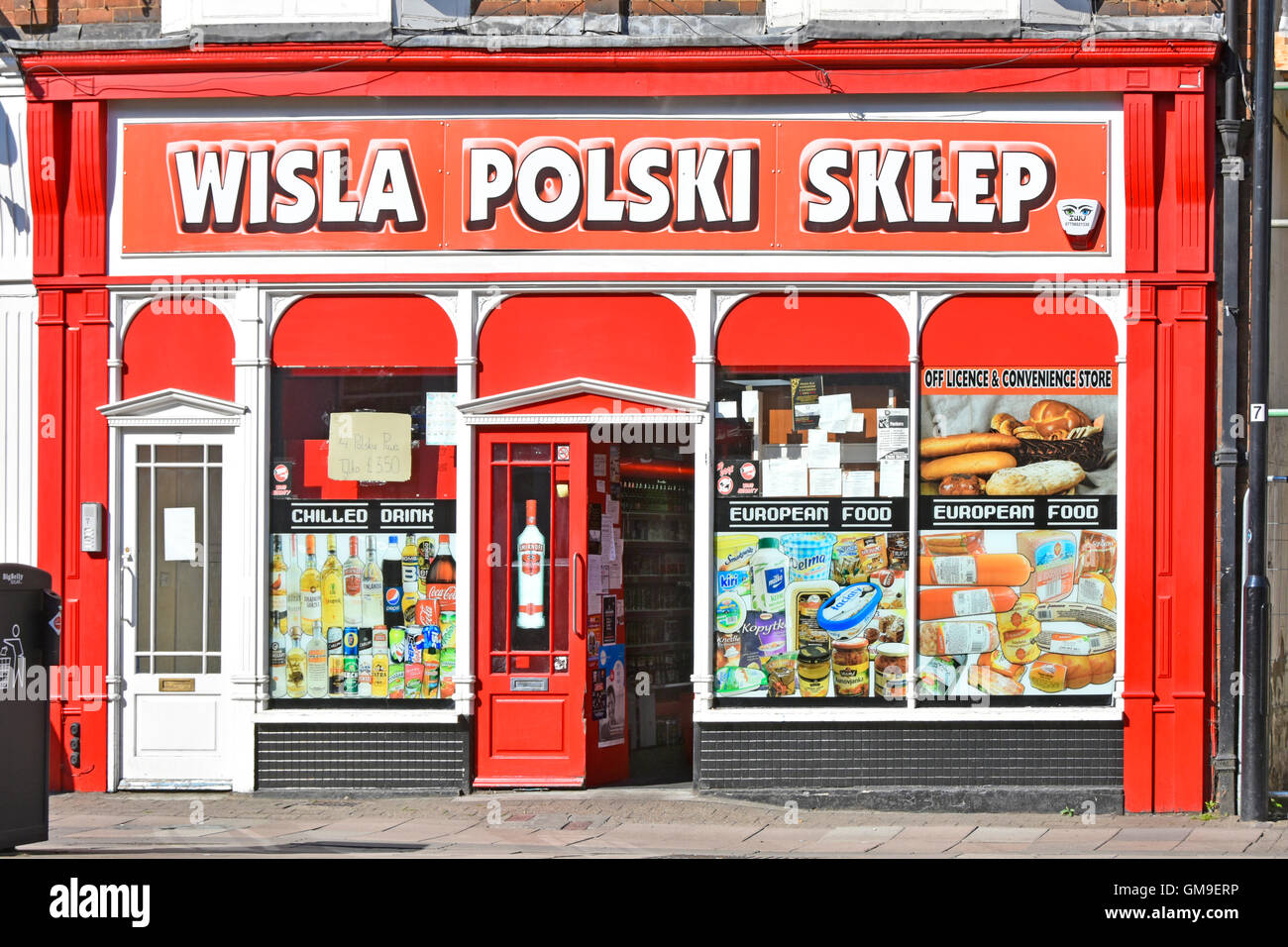47d5ebe4dd163 Polski Sklep Polish Shop Off License and Convenience Store shop front with window  posters in town centre of Rugby Warwickshire England UK
