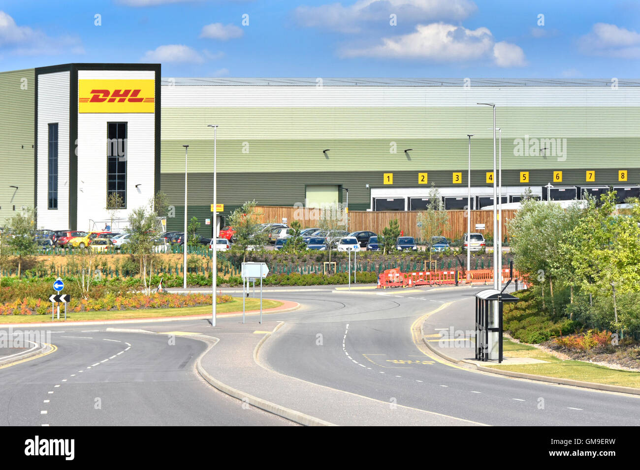 DHL logistics uk distribution warehouse on the Rugby Gateway development centrally located in middle England close - Stock Image