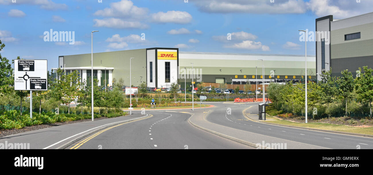 DHL logistics distribution warehouse on the Rugby Gateway development centrally located in middle England close - Stock Image