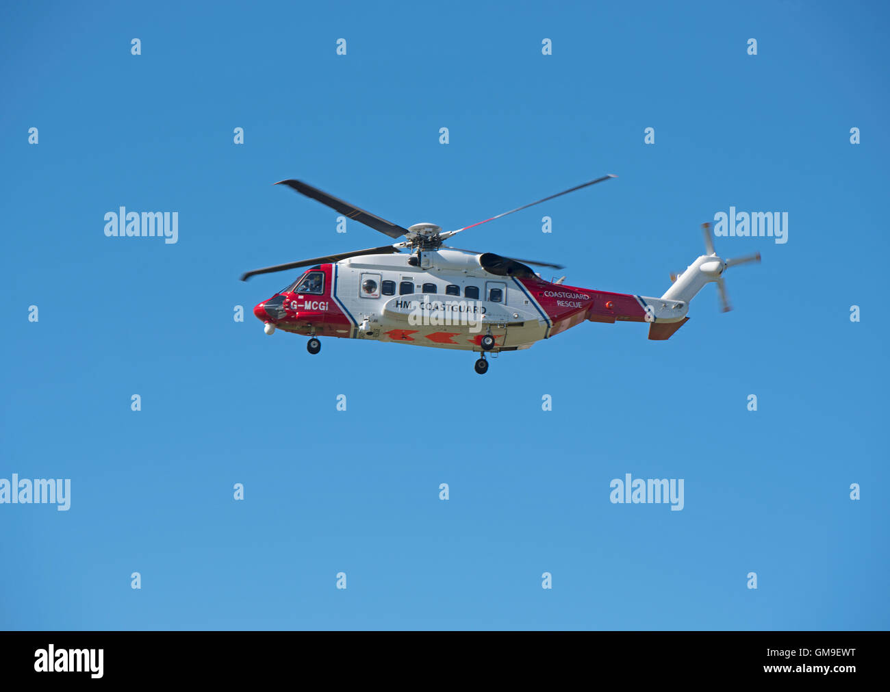 Sikorsky S-92A Coastguard SAR Helicopter (G-MCGI) based at Inverness. SCO 11,187. - Stock Image