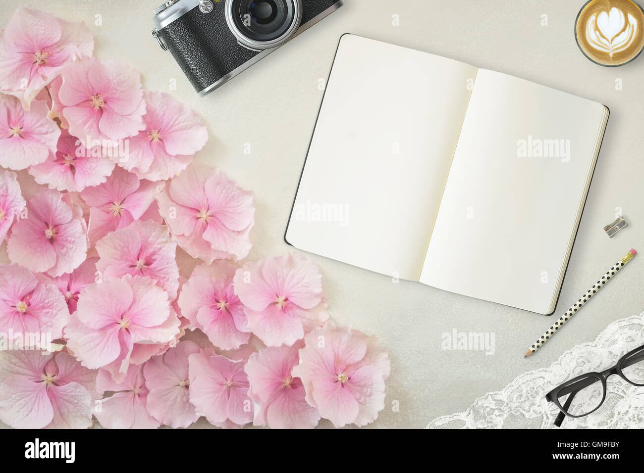 Pretty Styled Desktop Mockup flatlay stock photography, with Notebook - Stock Image