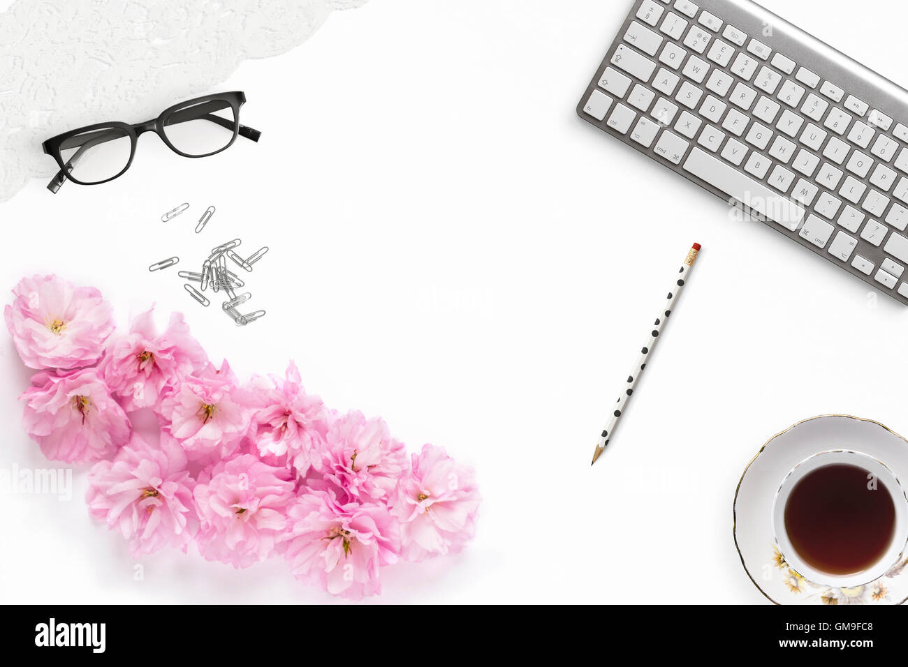 Pretty Styled Desktop Mockup flat lay stock photography - Stock Image