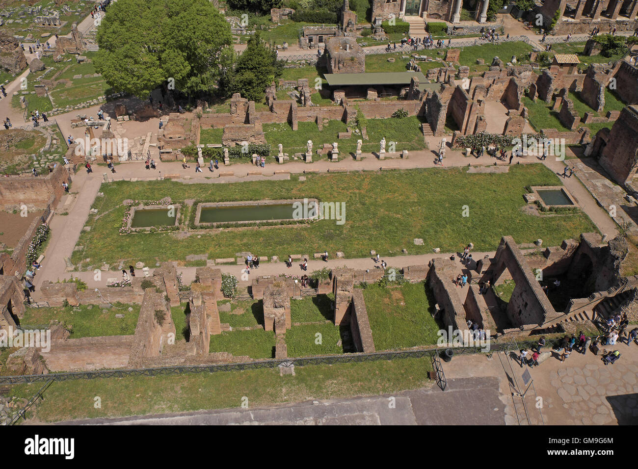 Birdseye view of what used to be a garden area, Forum area, Rome, Italy. - Stock Image