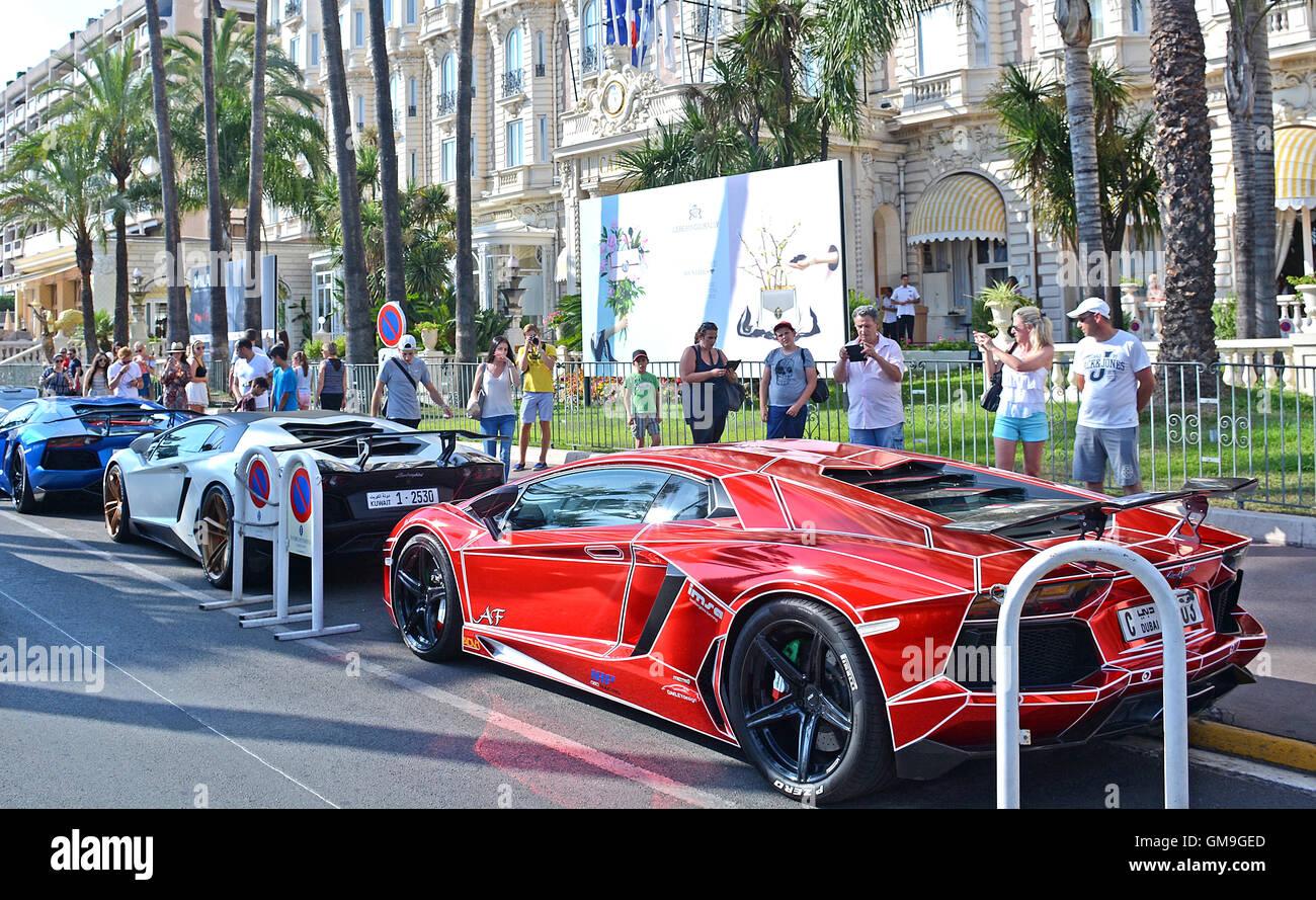 Lamborghini car, Boulevard de la Croisette, Cannes, Provence-Alpes-Cote d'Azur,  France Stock Photo