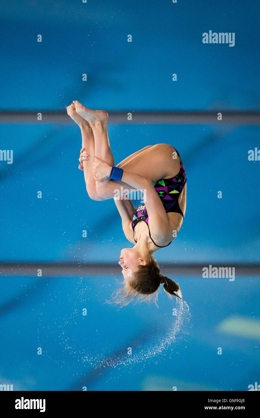 Yulia Timoshinina of Russia during the FINA/NVC Diving World Series in London on May, 3, 2015. Stock Photo