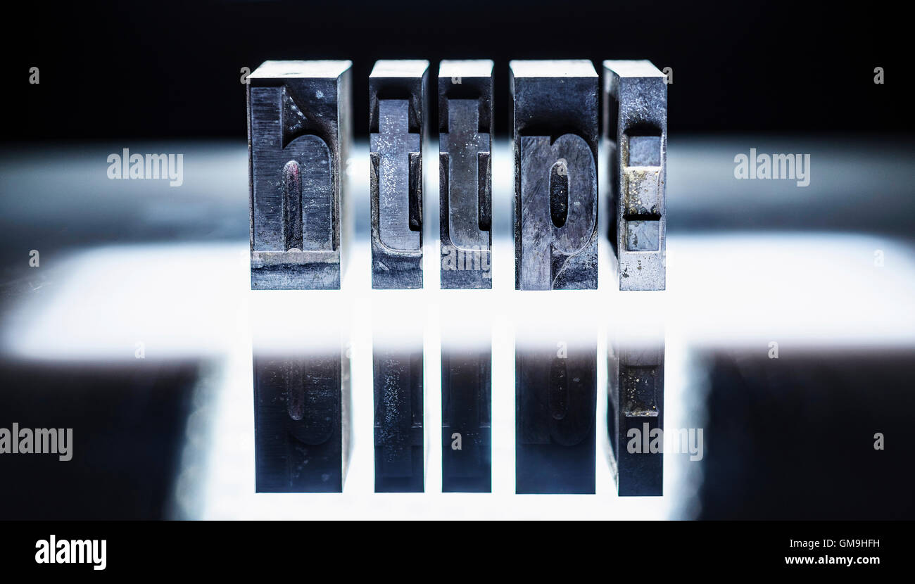 Word 'http:' carved in blocks - Stock Image