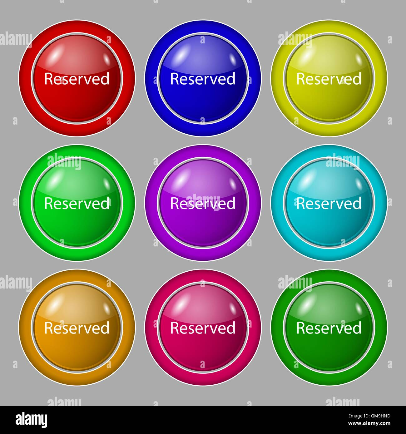 Reserved sign icon. Symbol on nine round colourful buttons. Vector - Stock Image