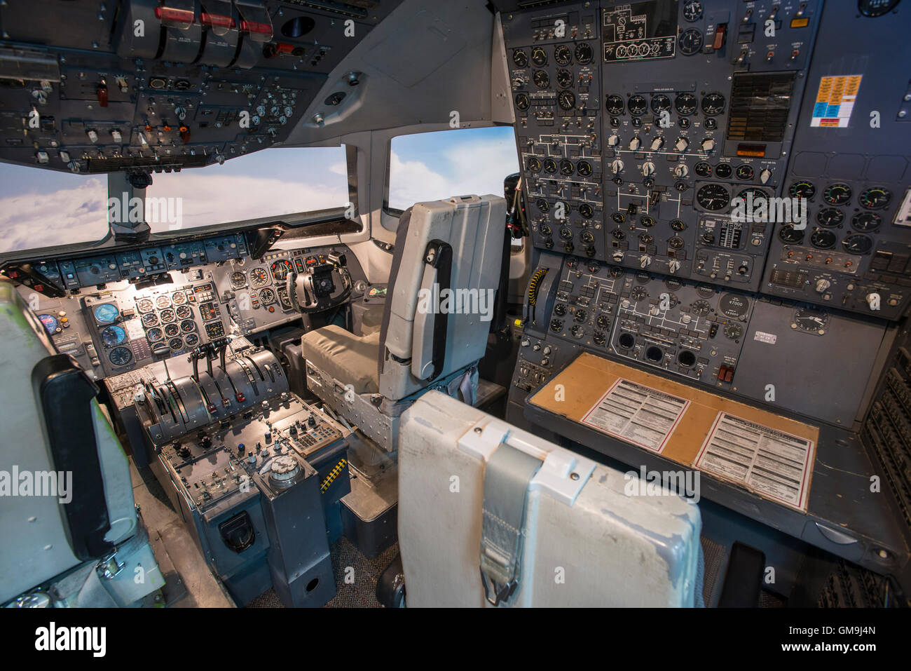 Cockpit simulator of a Douglas DC-10, Wings over the Rockies Air and Space Museum, Denver, Colorado. - Stock Image