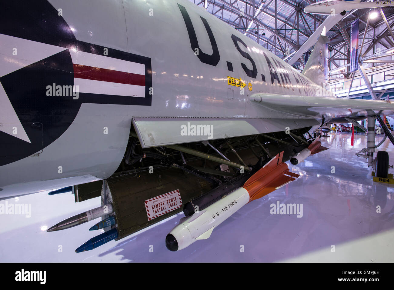 Hughes AIM-4D Falcon air-to-air missiles, Wings over the Rockies Air and Space Museum, Denver, Colorado. - Stock Image