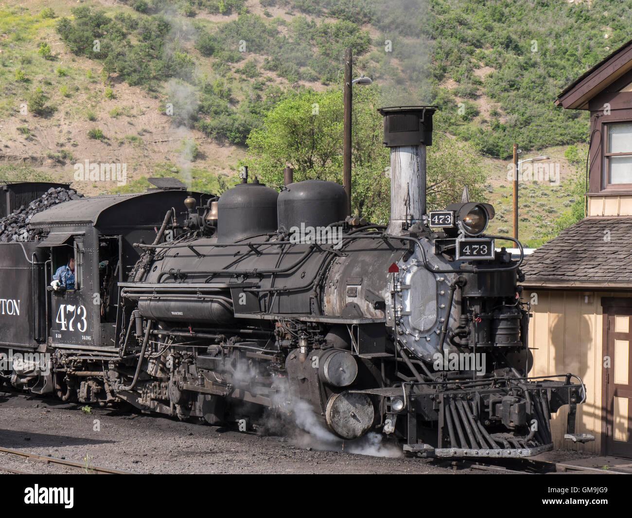 Durango & Silverton Narrow Gauge locomotive 473 at the station, Durango, Colorado. - Stock Image