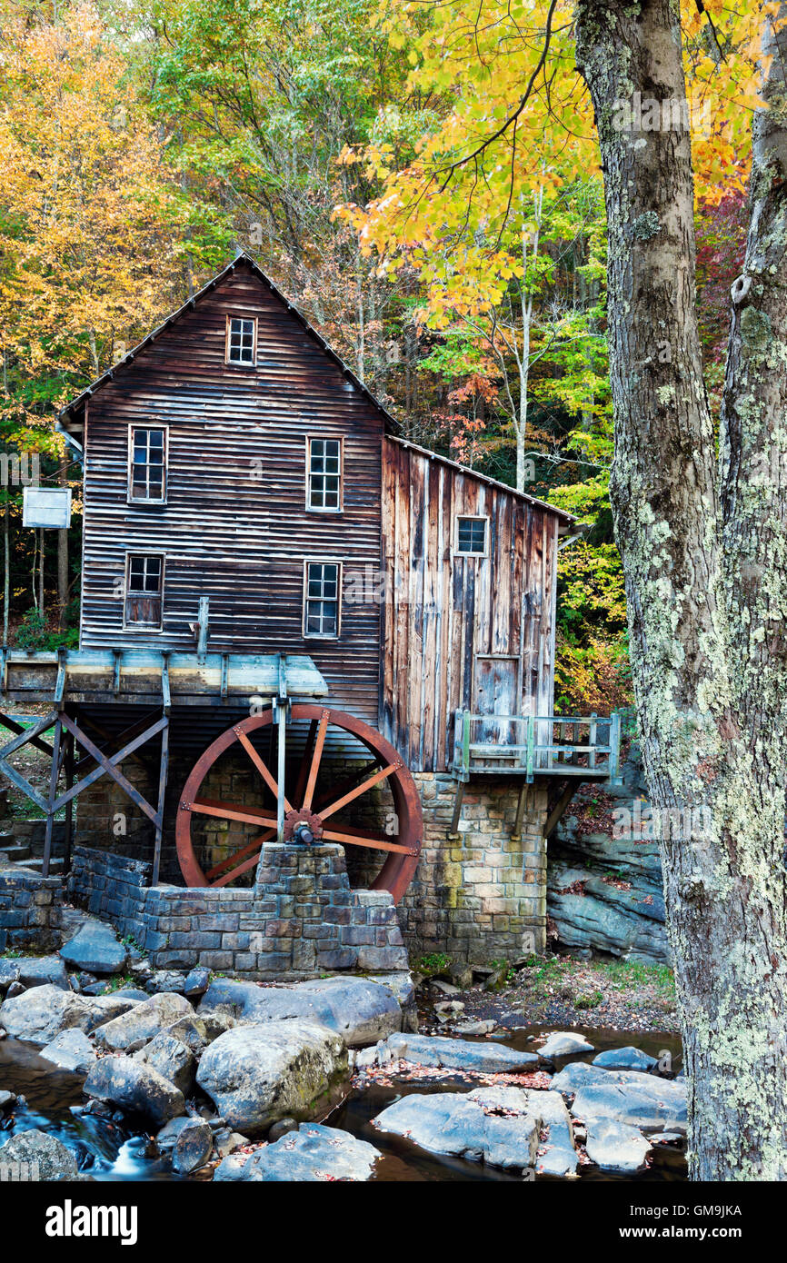 West Virginia, Babcock State Park, Old wooden mill - Stock Image